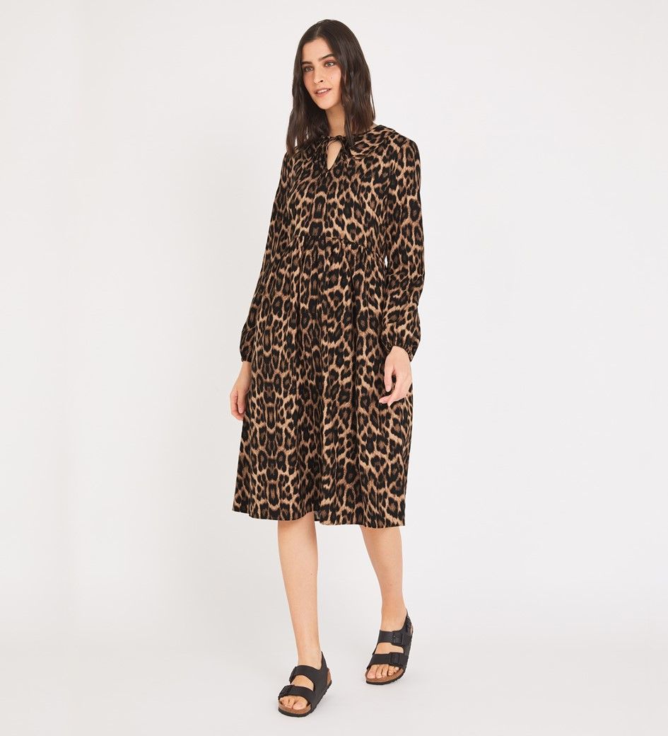Rosanna Knee Brown Leopard Length Dress