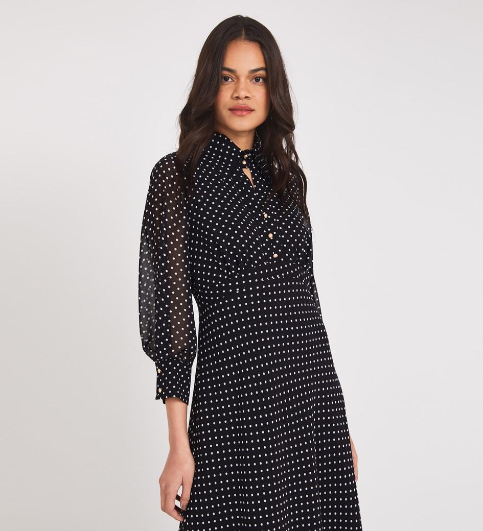 Martha Midi Black Spot Dress