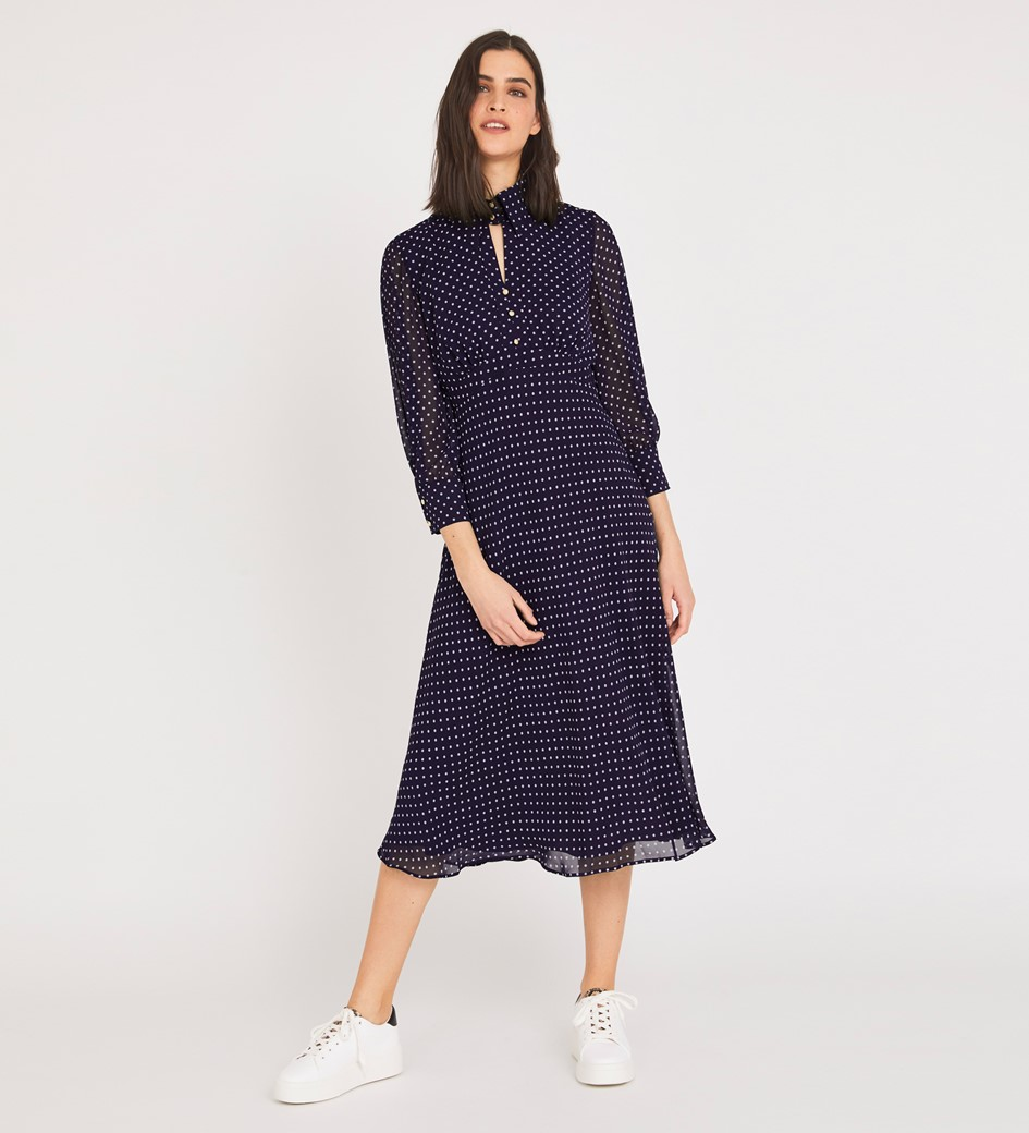 Martha Midi Navy Spot Dress