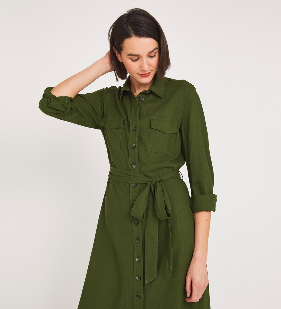 Tashia Midi Khaki Dress