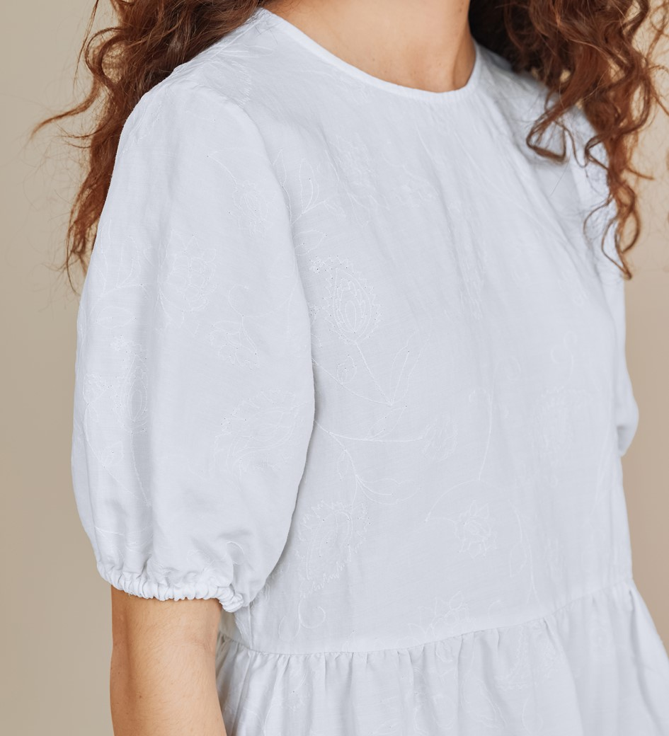 Florence White Embroidered Linen Rich Paisley Dress