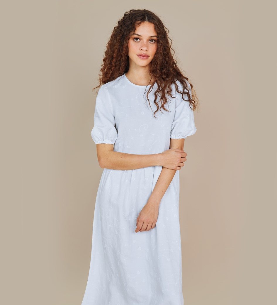 Florence White Embroidered Floral Linen Rich Dress