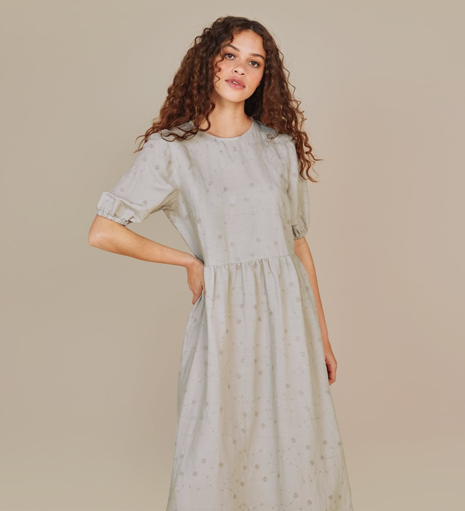 Florence Taupe Embroidered Floral Linen Rich Dress