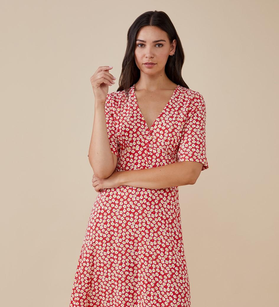 Sophia Midi Red Daisy Dress