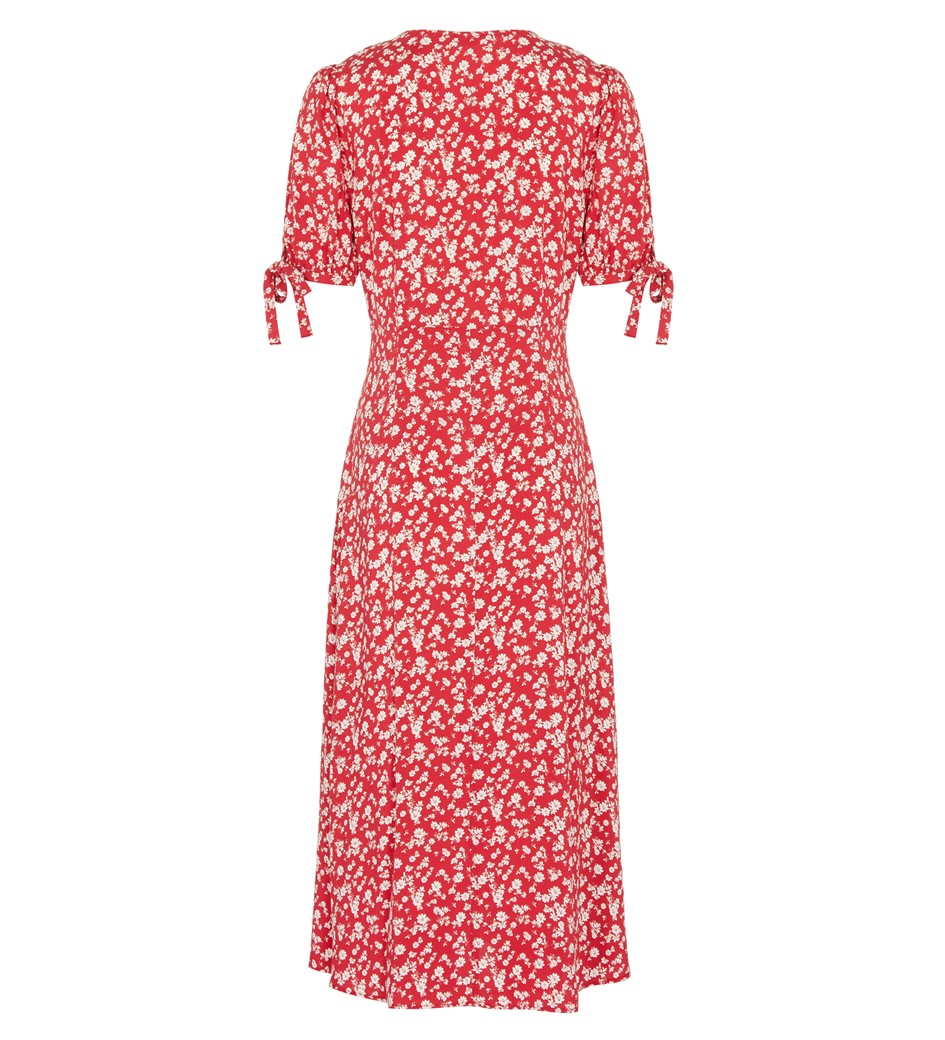 Claire Midi Red Leaves Dress