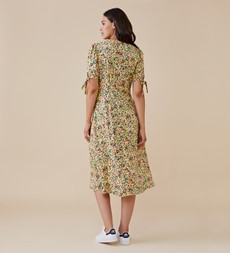 Claire Midi Yellow Floral Dress