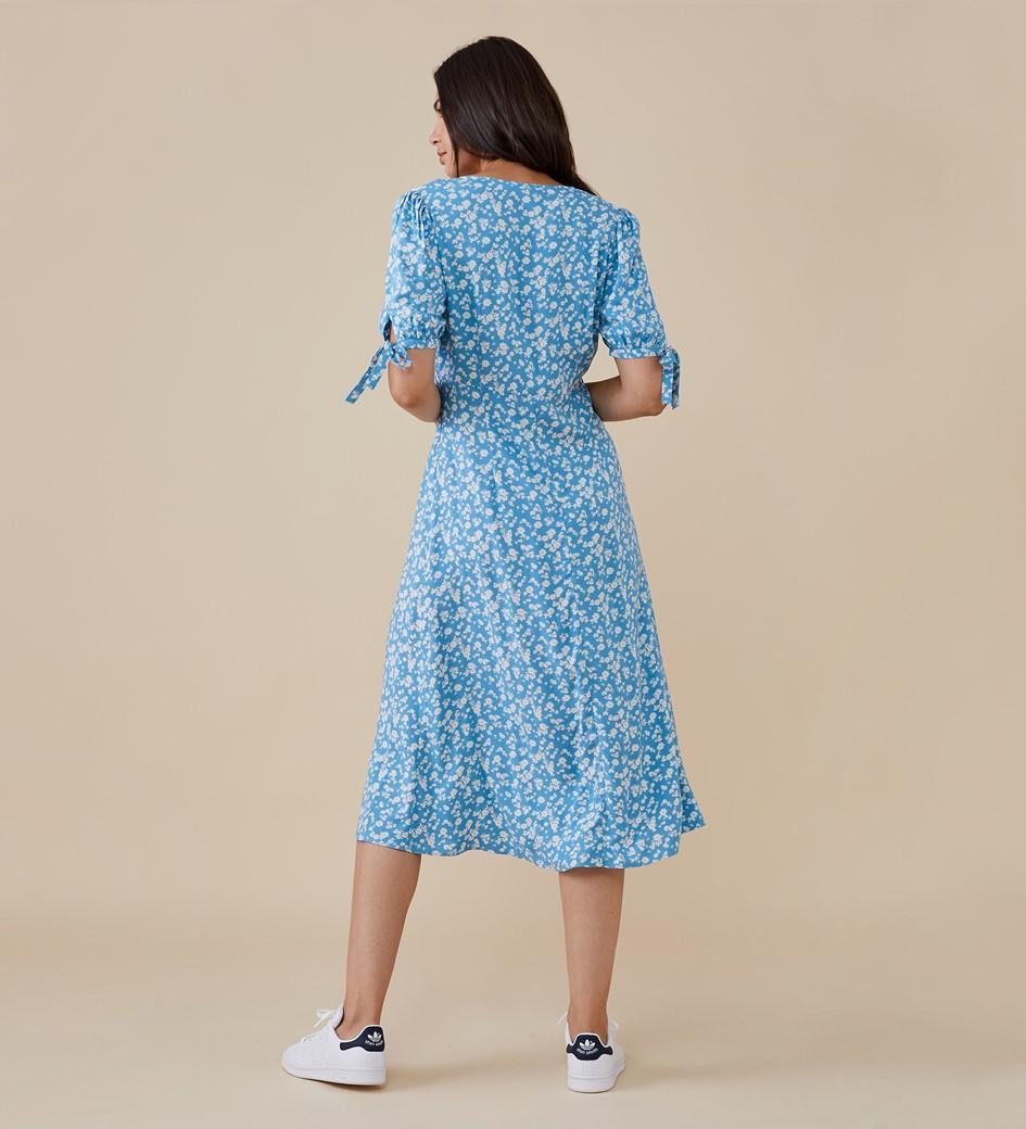 Claire Midi Blue Ditsy Dress