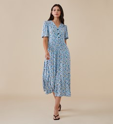 Aisla Midi Blue Ditsy Dress