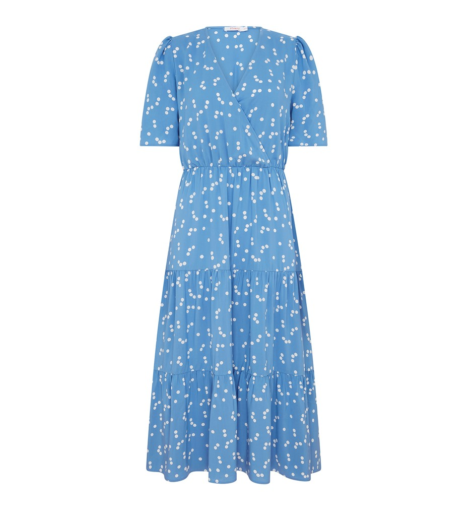 Amara Blue Spot Midi Dress