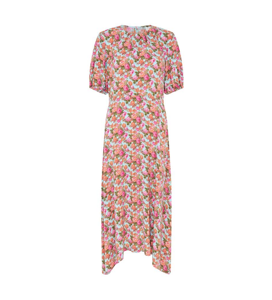 Kayla Midi Turquoise Floral Dress