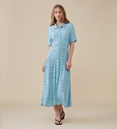 Tania Midi Blue Ditsy Dress