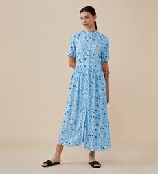 Meave Midi Blue Leaf Spot Dress