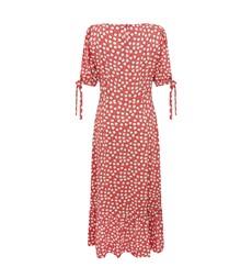 Ruby Midi Coral Ditsy Dress