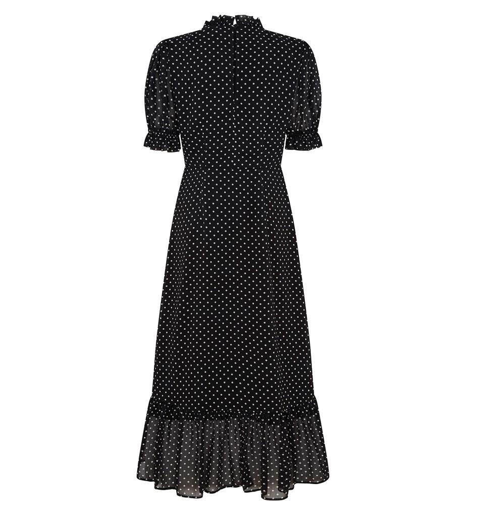 Camile Midi Black Spot Dress