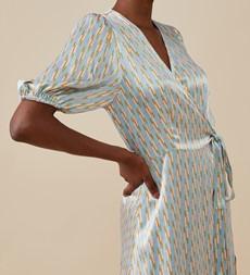 Lizzy Midi Blue Geo Dress
