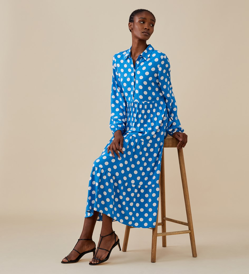 Jessa Midi Blue Spot Dress