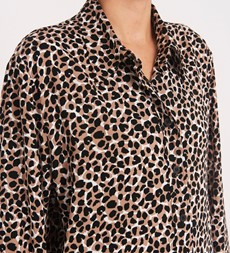 Fleur Collared Beige Animal Shirt