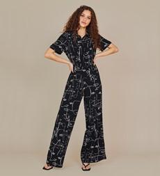 Alida Black Line Print Jumpsuit
